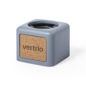 coluna bluetooth de cortiça e cimento calcário personalizada