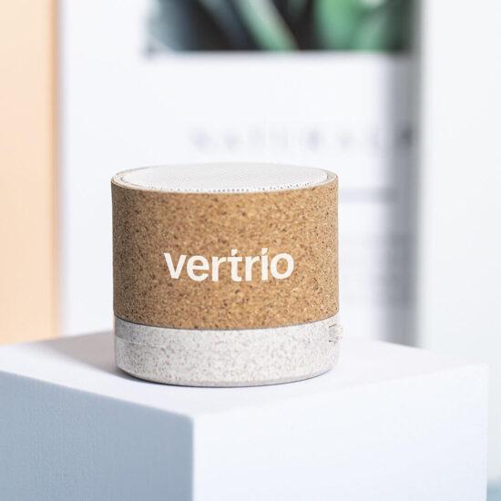 coluna bluetooth de cana de trigo e cortiça personalizada