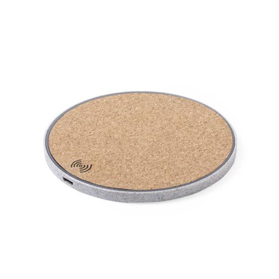 carregador wireless de cana de trigo e cortiça personalizável