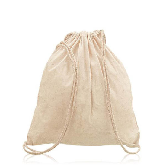 mochila de algodão com alças em atilhos