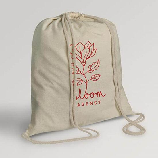 mochila personalizada de algodão com alças em atilhos