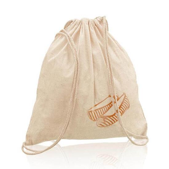 mochila de algodão com alças em atilhos personalizada