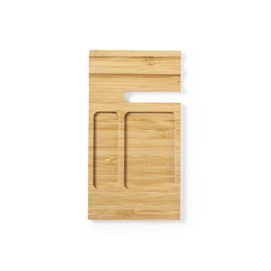 cimo de organizador de secretária de bambu com suporte para telemóvel e divisórias