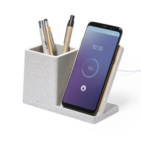 porta-canetas com carregador wireless para telemóvel de palha de trigo e bambu