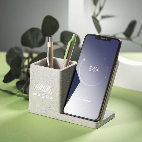 porta-canetas com carregador wireless de palha de trigo e bambu personalizado