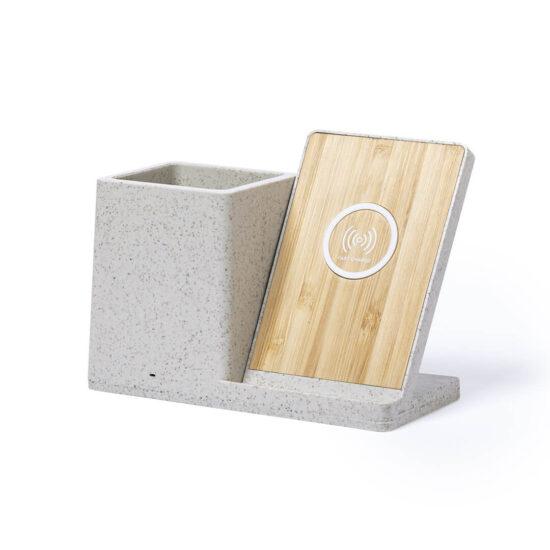 porta-canetas com carregador wireless de palha de trigo e bambu personalizável