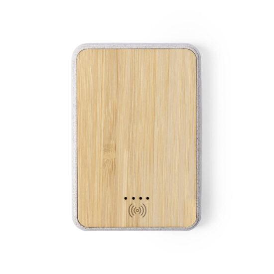 power bank com carregador wireless de cana de trigo e bambu personalizável