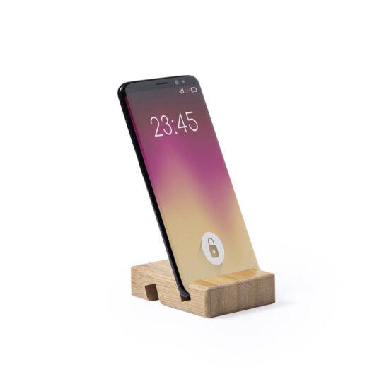 suporte de bambu para smartphones na vertical