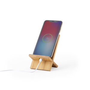 suporte para telemóvel de bambu com ranhura para carregamento