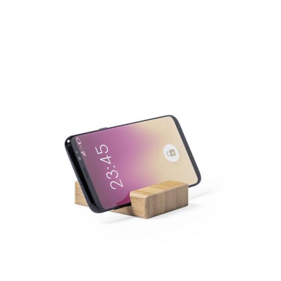 suporte de bambu para smartphones na horizontal