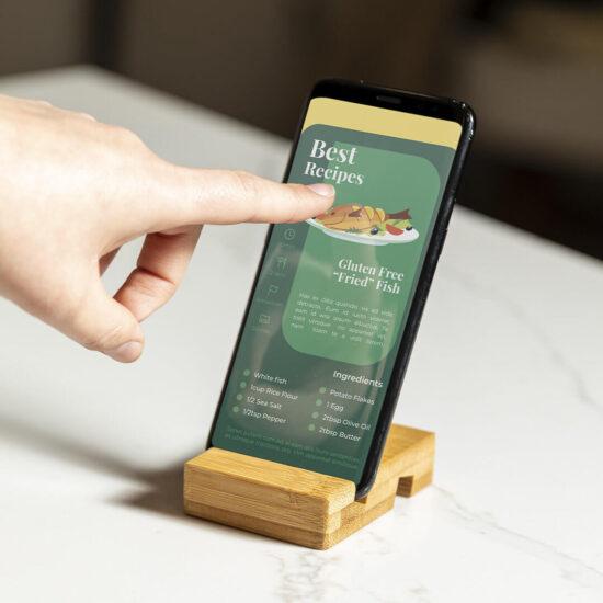 suporte de bambu para telemóveis