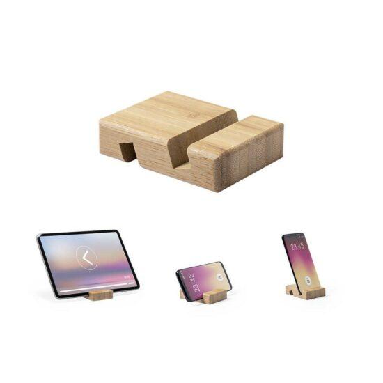 suporte de bambu para tablets e smartphones