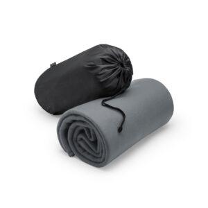 manta cinzenta com bolsa de rpet
