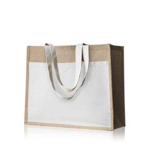 saco de juta com bolso exterior de algodão