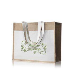 saco de juta com bolso exterior de algodão personalizado