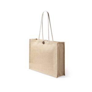 saco de praia de juta com alças de algodão
