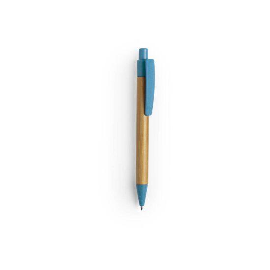 caneta azul de bambu e palha de trigo
