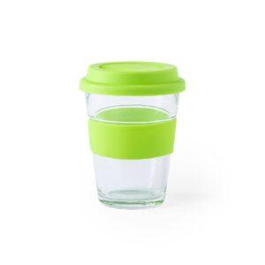 copo verde de vidro e silicone