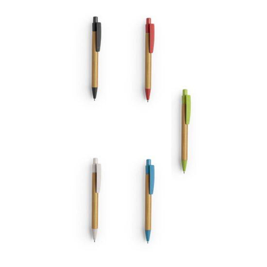 cores de canetas de bambu e palha de trigo