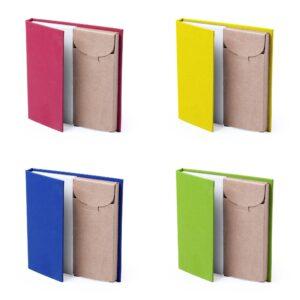 cores de conjunto de bloco de notas com lápis de cor