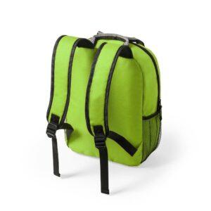 costas de mochila verde de plástico reciclado