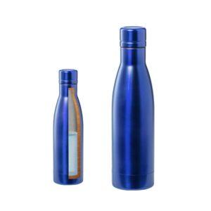 garrafa térmica azul de aço inoxidável com dupla parede