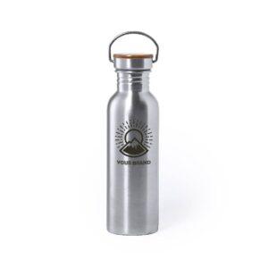 garrafa de 800 ml em aço inox e tampa de bambu personalizada