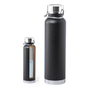 garrafa preta de aço inoxidável com dupla parede