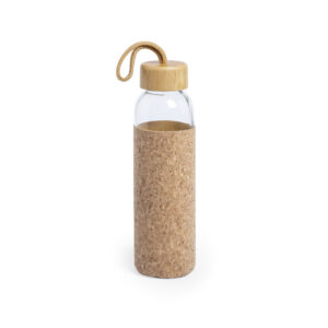 garrafa de vidro e bambu com bolsa de cortiça
