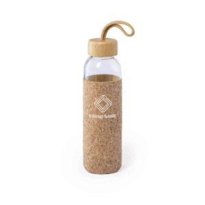 garrafa de vidro e bambu com bolsa de cortiça personalizada