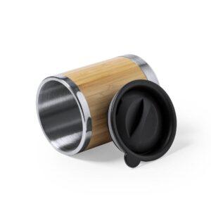 copo de bambu e aço inoxidável aberto