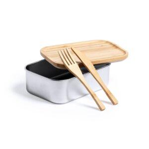 lancheira de aço inox aberta com talheres de bambu