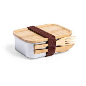 lateral de lancheira de aço inox com talheres e tampa de bambu