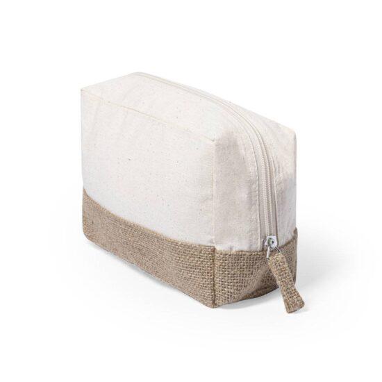 lateral de necessaire de algodão com base em juta