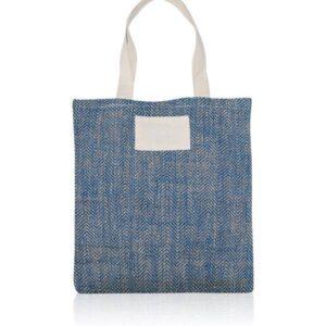 saco azul de juta com alças de algodão