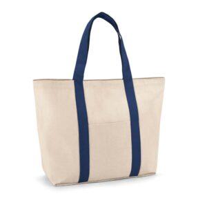 saco de praia de algodão azul com bolso