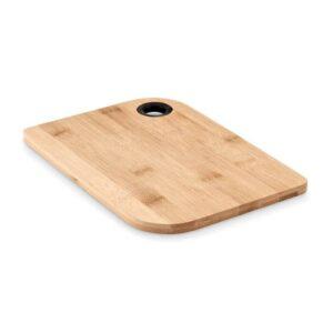 tábua de cozinha de bambu com orifício para suporte