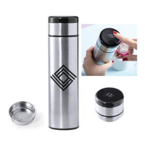 termo de 420 ml em aço inox com medidor tátil de temperatura