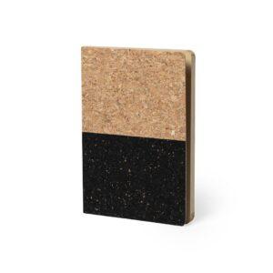 bloco de notas A5 em cortiça preto