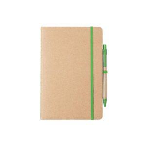 caderno a5 verde com capas de cartão reciclado e caneta de palha de trigo