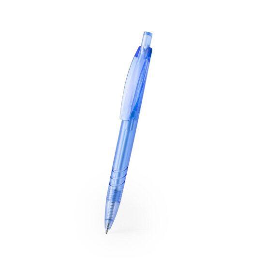 lateral de caneta azul de plástico reciclado