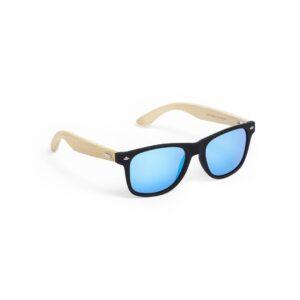 óculos de sol azuis de bambu e acetato de celulose