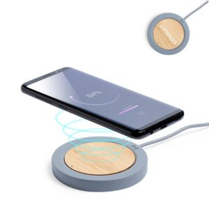 carregador wireless de cimento e bambu