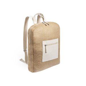 mochila de juta e algodão com bolso exterior