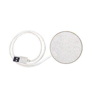 cabo de carregador wireless de cartão reciclado e palha de trigo