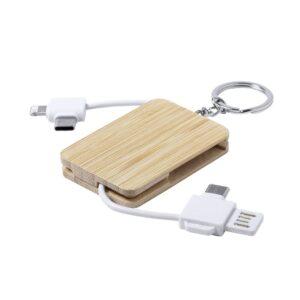 carregador múltiplo e porta-chaves de bambu