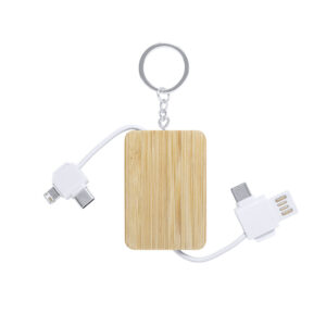 carregador múltiplo e porta-chaves de bambu personalizável