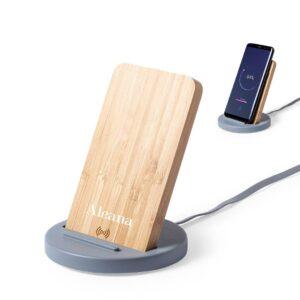 carregador wireless de bambu de cimento