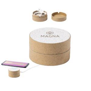 carregador wireless de cartão reciclado e palha de trigo