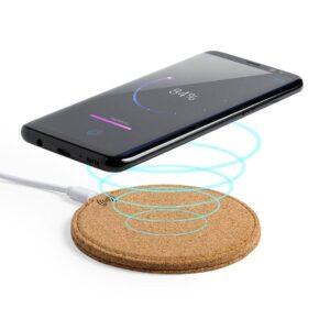 carregador wireless de cortiça com smartphone